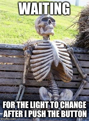 Waiting Skeleton Meme | WAITING FOR THE LIGHT TO CHANGE AFTER I PUSH THE BUTTON | image tagged in memes,waiting skeleton | made w/ Imgflip meme maker