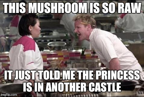Angry Chef Gordon Ramsay Meme | THIS MUSHROOM IS SO RAW IT JUST TOLD ME THE PRINCESS IS IN ANOTHER CASTLE | image tagged in memes,angry chef gordon ramsay | made w/ Imgflip meme maker