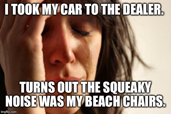 I tend to overact about car noises... Unfortunately, the car has 8,000 miles so I totally had a blond moment with the mrchanic.  | I TOOK MY CAR TO THE DEALER. TURNS OUT THE SQUEAKY NOISE WAS MY BEACH CHAIRS. | image tagged in memes,first world problems | made w/ Imgflip meme maker