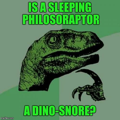 Philosoraptor Meme | IS A SLEEPING PHILOSORAPTOR A DINO-SNORE? | image tagged in memes,philosoraptor | made w/ Imgflip meme maker