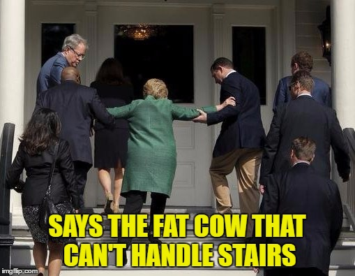 SAYS THE FAT COW THAT CAN'T HANDLE STAIRS | made w/ Imgflip meme maker