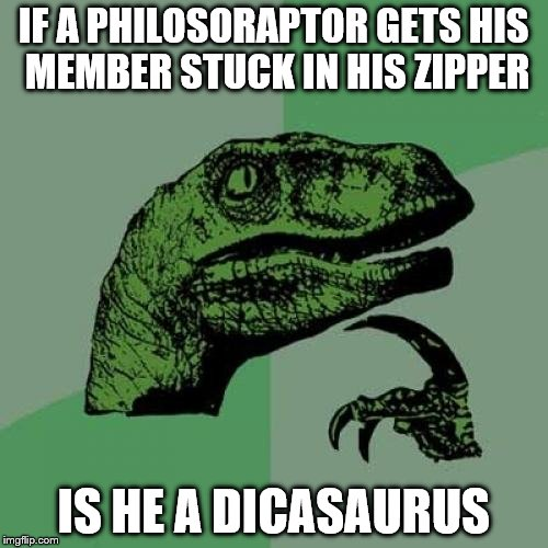 Philosoraptor Meme | IF A PHILOSORAPTOR GETS HIS MEMBER STUCK IN HIS ZIPPER IS HE A DICASAURUS | image tagged in memes,philosoraptor | made w/ Imgflip meme maker