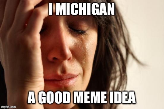First World Problems Meme | I MICHIGAN A GOOD MEME IDEA | image tagged in memes,first world problems | made w/ Imgflip meme maker