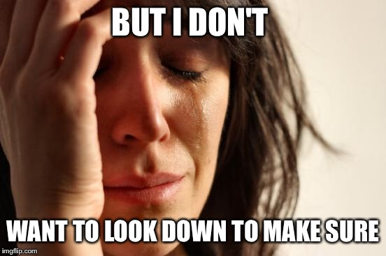 BUT I DON'T WANT TO LOOK DOWN TO MAKE SURE | image tagged in memes,first world problems | made w/ Imgflip meme maker