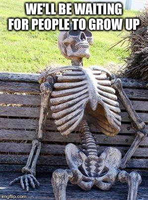 Waiting Skeleton Meme | WE'LL BE WAITING FOR PEOPLE TO GROW UP | image tagged in memes,waiting skeleton | made w/ Imgflip meme maker