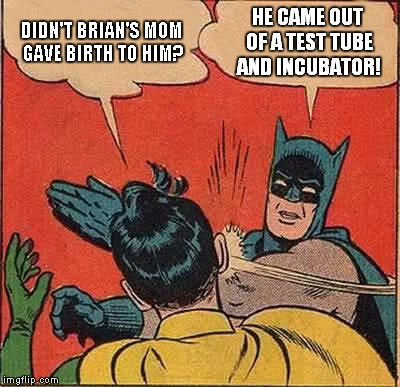 Batman Slapping Robin Meme | DIDN'T BRIAN'S MOM GAVE BIRTH TO HIM? HE CAME OUT OF A TEST TUBE AND INCUBATOR! | image tagged in memes,batman slapping robin | made w/ Imgflip meme maker