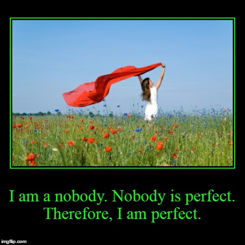 Positive Thinking | I am a nobody. Nobody is perfect. Therefore, I am perfect. | | image tagged in funny,demotivationals,perfection,nobody is perfect | made w/ Imgflip demotivational maker