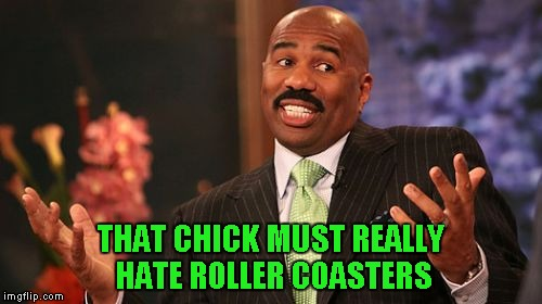 Steve Harvey Meme | THAT CHICK MUST REALLY HATE ROLLER COASTERS | image tagged in memes,steve harvey | made w/ Imgflip meme maker