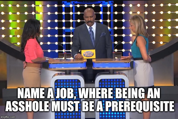 I can name a few... | NAME A JOB, WHERE BEING AN ASSHOLE MUST BE A PREREQUISITE | image tagged in steve harvey family feud,steve harvey,wtf,funny meme | made w/ Imgflip meme maker