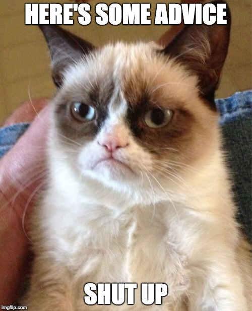 Grumpy Cat Meme | HERE'S SOME ADVICE SHUT UP | image tagged in memes,grumpy cat | made w/ Imgflip meme maker