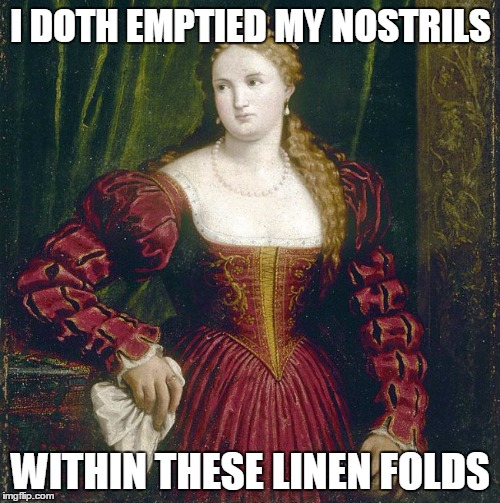 I DOTH EMPTIED MY NOSTRILS WITHIN THESE LINEN FOLDS | made w/ Imgflip meme maker