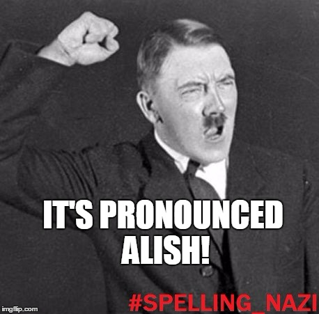 IT'S PRONOUNCED ALISH! | image tagged in spelling nazi | made w/ Imgflip meme maker