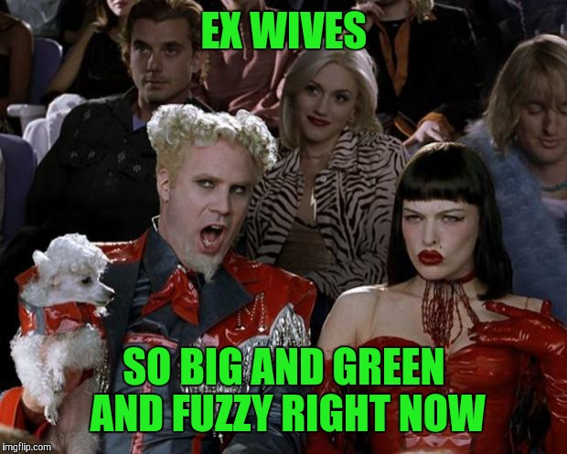 Mugatu So Hot Right Now Meme | EX WIVES SO BIG AND GREEN AND FUZZY RIGHT NOW | image tagged in memes,mugatu so hot right now | made w/ Imgflip meme maker