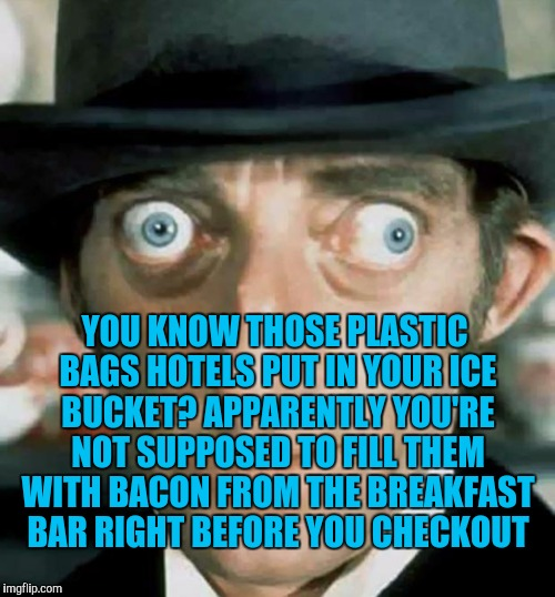 Crazy Eyes | YOU KNOW THOSE PLASTIC BAGS HOTELS PUT IN YOUR ICE BUCKET? APPARENTLY YOU'RE NOT SUPPOSED TO FILL THEM WITH BACON FROM THE BREAKFAST BAR RIG | image tagged in crazy eyes | made w/ Imgflip meme maker