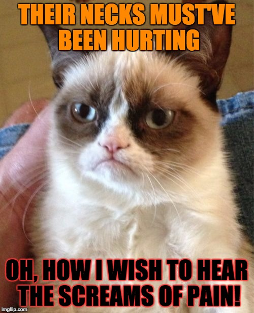 Grumpy Cat Meme | THEIR NECKS MUST'VE BEEN HURTING OH, HOW I WISH TO HEAR THE SCREAMS OF PAIN! | image tagged in memes,grumpy cat | made w/ Imgflip meme maker