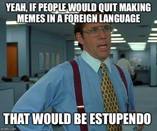 What's going on with imgflip lately allowing so many non-English memes? | YEAH, IF PEOPLE WOULD QUIT MAKING MEMES IN A FOREIGN LANGUAGE THAT WOULD BE ESTUPENDO | image tagged in memes,that would be great | made w/ Imgflip meme maker