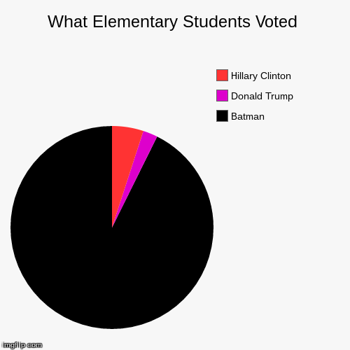 What Elementary Students Voted | Batman, Donald Trump, Hillary Clinton | image tagged in funny,pie charts | made w/ Imgflip pie chart maker