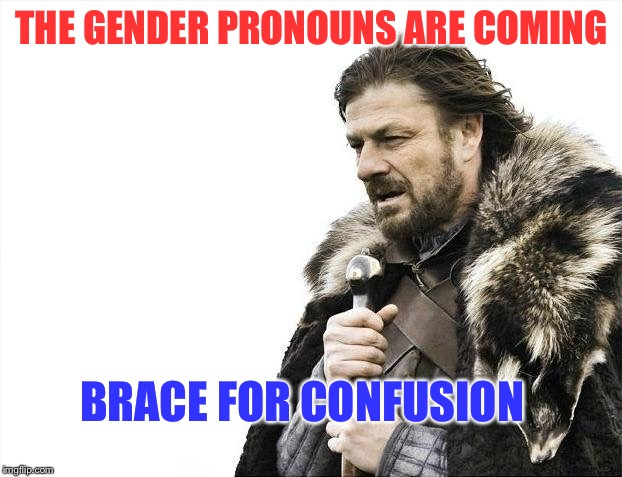 Brace Yourselves X is Coming Meme |  THE GENDER PRONOUNS ARE COMING; BRACE FOR CONFUSION | image tagged in memes,brace yourselves x is coming | made w/ Imgflip meme maker