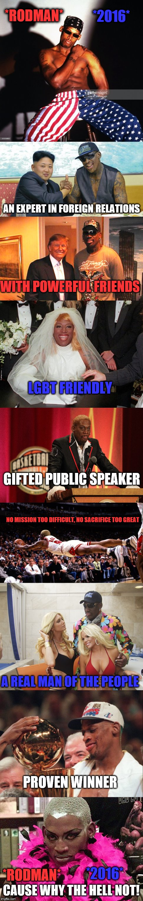 *RODMAN* *2016* AN EXPERT IN FOREIGN RELATIONS WITH POWERFUL FRIENDS LGBT FRIENDLY GIFTED PUBLIC SPEAKER NO MISSION TOO DIFFICULT, NO SACRIF | image tagged in dennis rodman,election,president | made w/ Imgflip meme maker