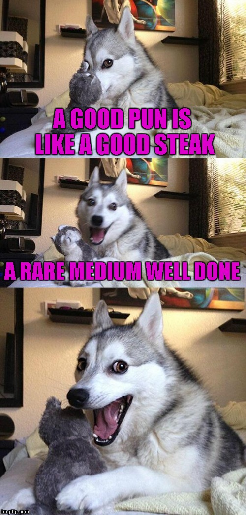 Bad Pun Dog Meme | A GOOD PUN IS LIKE A GOOD STEAK A RARE MEDIUM WELL DONE | image tagged in memes,bad pun dog | made w/ Imgflip meme maker