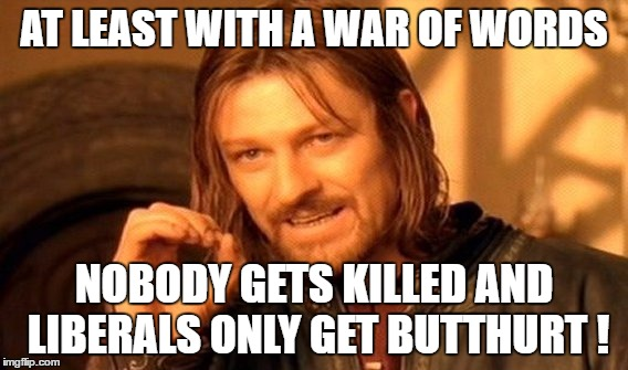 One Does Not Simply Meme | AT LEAST WITH A WAR OF WORDS NOBODY GETS KILLED AND LIBERALS ONLY GET BUTTHURT ! | image tagged in memes,one does not simply | made w/ Imgflip meme maker