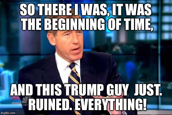 SO THERE I WAS, IT WAS THE BEGINNING OF TIME, AND THIS TRUMP GUY  JUST. RUINED. EVERYTHING! | made w/ Imgflip meme maker