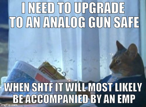 I Should Buy A Boat Cat |  I NEED TO UPGRADE TO AN ANALOG GUN SAFE; WHEN SHTF IT WILL MOST LIKELY BE ACCOMPANIED BY AN EMP | image tagged in memes,i should buy a boat cat | made w/ Imgflip meme maker