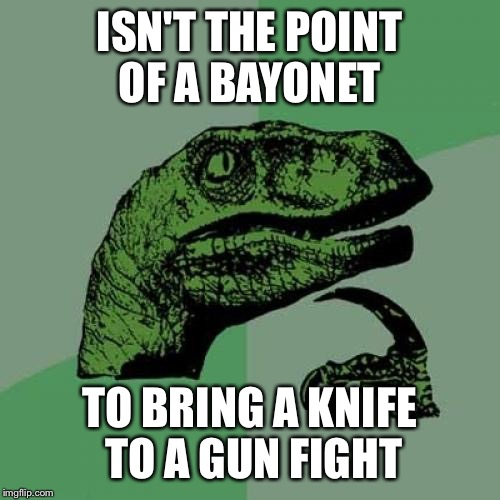 Philosoraptor Meme | ISN'T THE POINT OF A BAYONET TO BRING A KNIFE TO A GUN FIGHT | image tagged in memes,philosoraptor | made w/ Imgflip meme maker