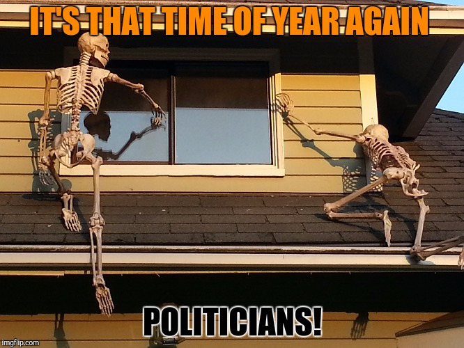 We're here for your votes | IT'S THAT TIME OF YEAR AGAIN POLITICIANS! | image tagged in skeletons,politicians,votes,campaign | made w/ Imgflip meme maker