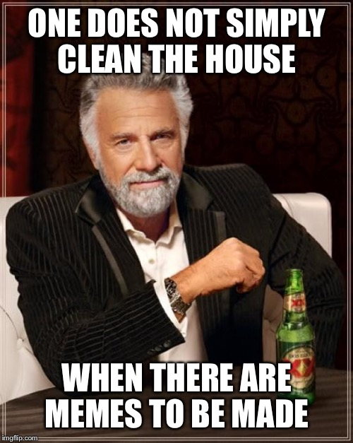 The Most Interesting Man In The World Meme | ONE DOES NOT SIMPLY CLEAN THE HOUSE WHEN THERE ARE MEMES TO BE MADE | image tagged in memes,the most interesting man in the world | made w/ Imgflip meme maker