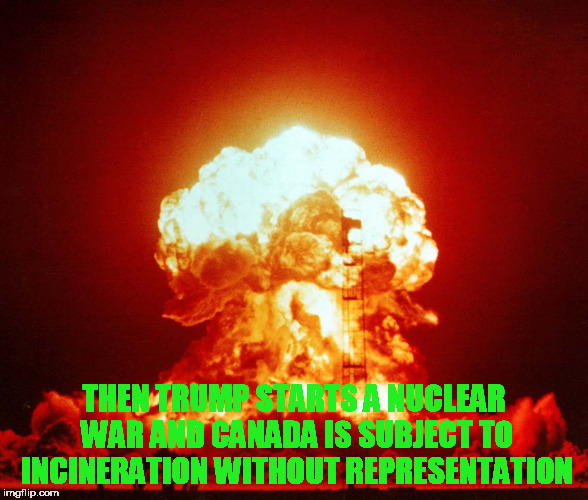 THEN TRUMP STARTS A NUCLEAR WAR AND CANADA IS SUBJECT TO INCINERATION WITHOUT REPRESENTATION | made w/ Imgflip meme maker