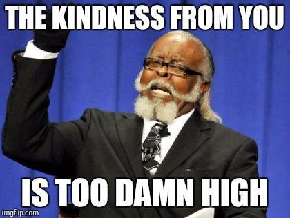 Too Damn High Meme | THE KINDNESS FROM YOU IS TOO DAMN HIGH | image tagged in memes,too damn high | made w/ Imgflip meme maker