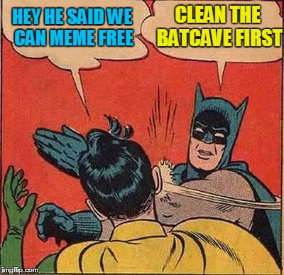 Batman Slapping Robin Meme | HEY HE SAID WE CAN MEME FREE CLEAN THE BATCAVE FIRST | image tagged in memes,batman slapping robin | made w/ Imgflip meme maker