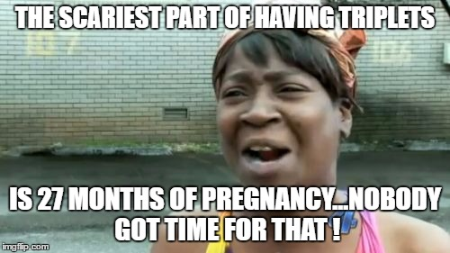Another Facepalm from a post on Facebook ! | THE SCARIEST PART OF HAVING TRIPLETS IS 27 MONTHS OF PREGNANCY...NOBODY GOT TIME FOR THAT ! | image tagged in memes,aint nobody got time for that | made w/ Imgflip meme maker