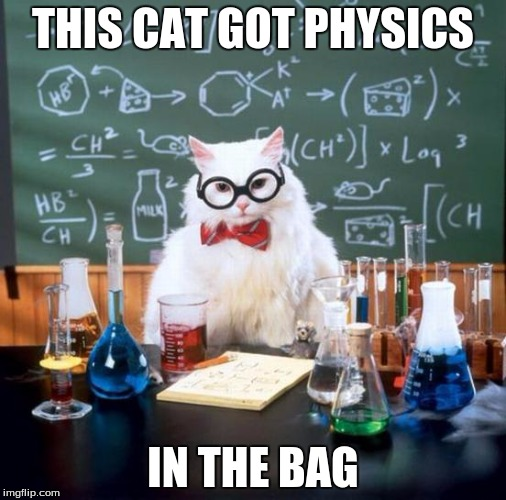 Chemistry Cat | THIS CAT GOT PHYSICS IN THE BAG | image tagged in memes,chemistry cat | made w/ Imgflip meme maker