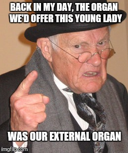 Back In My Day Meme | BACK IN MY DAY, THE ORGAN  WE'D OFFER THIS YOUNG LADY WAS OUR EXTERNAL ORGAN | image tagged in memes,back in my day | made w/ Imgflip meme maker