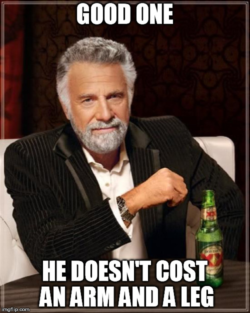 The Most Interesting Man In The World Meme | GOOD ONE HE DOESN'T COST AN ARM AND A LEG | image tagged in memes,the most interesting man in the world | made w/ Imgflip meme maker