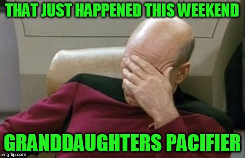 Captain Picard Facepalm Meme | THAT JUST HAPPENED THIS WEEKEND GRANDDAUGHTERS PACIFIER | image tagged in memes,captain picard facepalm | made w/ Imgflip meme maker