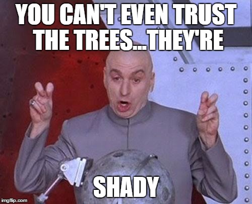 Dr Evil Laser Meme | YOU CAN'T EVEN TRUST THE TREES...THEY'RE SHADY | image tagged in memes,dr evil laser | made w/ Imgflip meme maker