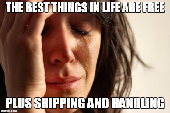 Read the Fine Print | THE BEST THINGS IN LIFE ARE FREE PLUS SHIPPING AND HANDLING | image tagged in memes,first world problems,free gifts | made w/ Imgflip meme maker