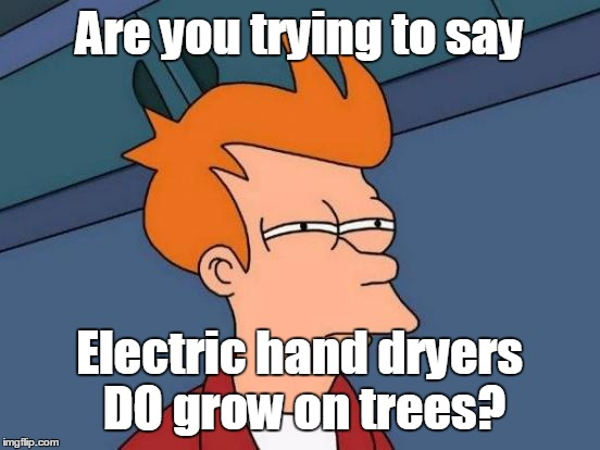 Futurama Fry Meme | Are you trying to say Electric hand dryers DO grow on trees? | image tagged in memes,futurama fry | made w/ Imgflip meme maker