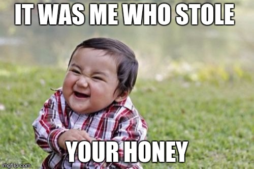 IT WAS ME WHO STOLE YOUR HONEY | image tagged in memes,evil toddler | made w/ Imgflip meme maker