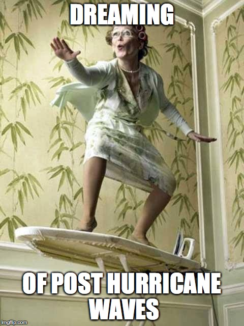 Surfing ironing board lady | DREAMING OF POST HURRICANE WAVES | image tagged in surfing ironing board lady | made w/ Imgflip meme maker