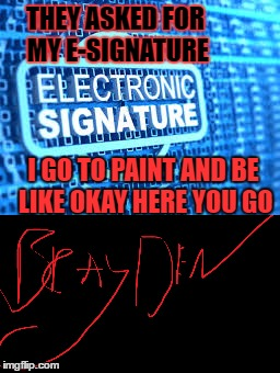 THEY ASKED FOR MY E-SIGNATURE I GO TO PAINT AND BE LIKE OKAY HERE YOU GO | image tagged in sfw,meme | made w/ Imgflip meme maker