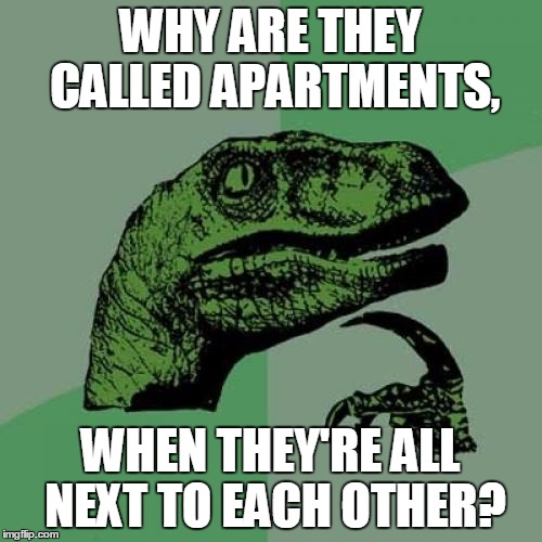Why Are They Called Apartments? | WHY ARE THEY CALLED APARTMENTS, WHEN THEY'RE ALL NEXT TO EACH OTHER? | image tagged in memes,philosoraptor,apartments,is this a clue,a mythical tag | made w/ Imgflip meme maker