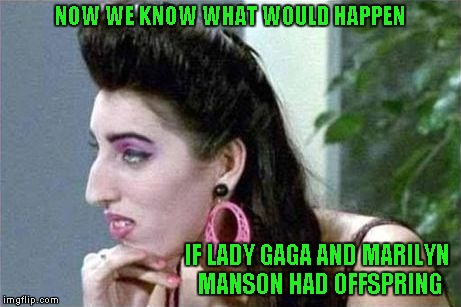 I don't know about you, but I can see both of them in this chick. | NOW WE KNOW WHAT WOULD HAPPEN IF LADY GAGA AND MARILYN MANSON HAD OFFSPRING | image tagged in damn fugly,memes,lady gaga,marilyn manson,funny | made w/ Imgflip meme maker