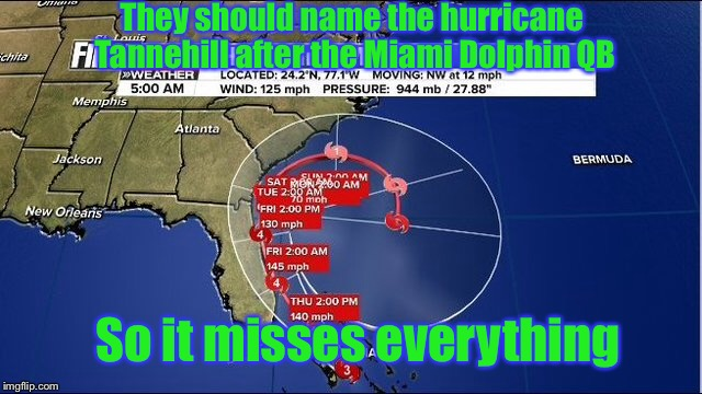 Maybe next year... |  They should name the hurricane Tannehill after the Miami Dolphin QB; So it misses everything | image tagged in memes,funny,miami dolphins,hurricane matthew,football,quarterback | made w/ Imgflip meme maker