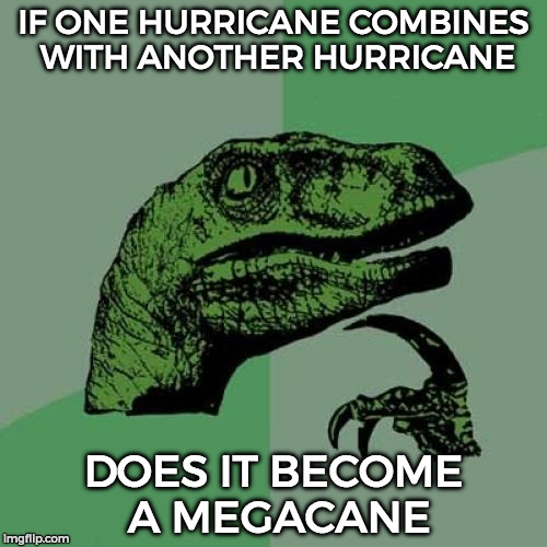 Philosoraptor Meme | IF ONE HURRICANE COMBINES WITH ANOTHER HURRICANE DOES IT BECOME A MEGACANE | image tagged in memes,philosoraptor | made w/ Imgflip meme maker