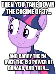 THEN YOU TAKE DOWN THE COSINE OF 37... AND CARRY THE 54 OVER THE 123 POWER OF BANANA, AND THEN.... | made w/ Imgflip meme maker