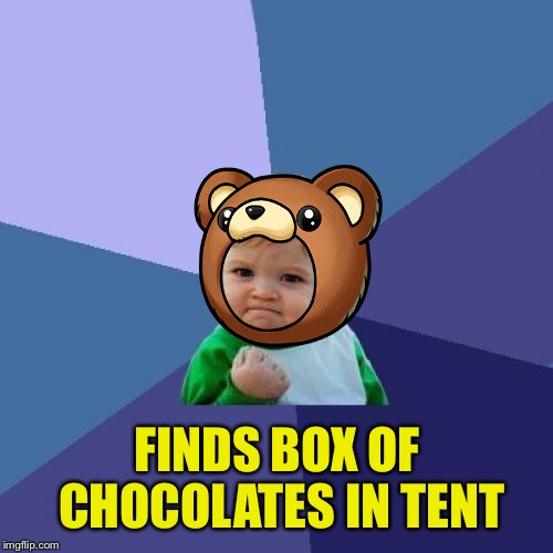 Success Kid Meme | FINDS BOX OF CHOCOLATES IN TENT | image tagged in memes,success kid | made w/ Imgflip meme maker